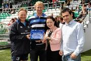 22 July 2011; Mayor of South Dublin County Council Caitríona Jones, in the company of Cllr Chris Bond, right, makes a presentation to Leinster head coach Joe Schmidt and team captain Leo Cullen in recognition of their achievement in winning the Heineken Cup last season after an open training session ahead of the 2011/12 season. Tallaght Stadium, Tallaght, Dublin. Photo by Brendan Moran/Sportsfile