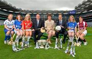 11 June 2013; The Liberty Insurance Camogie Championship was launched at Croke Park this afternoon with players from participating counties joining to mark the start of championship 2013 with President of the Camogie Association Aileen Lawlor, CEO of Liberty Insurance Pat O'Brien and Uachtarán Chumann Lúthchleas Gael Liam Ó Néill. Twenty four counties, across five grades, will commence their All-Ireland campaigns on June 22nd. Liberty Insurance is the first ever sponsor of both the GAA Hurling and Camogie All-Ireland Senior Championships in a five-year deal with the GAA. Pictured at today's launch are CEO of Liberty Insurance Patrick O'Brien, right, Uachtarán Chumann Lúthchleas Gael Liam Ó Néill and President of the Camogie Association Aileen Lawlor, with senior camogie players, from left, Bríd Treanor, Monaghan, Bríd Boylan, Cavan, Anna Geary, Cork, Niamh Mulcahy, Limerick, and Eileen Murphy, Westmeath. Croke Park, Dublin. Picture credit: Barry Cregg / SPORTSFILE
