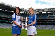 11 June 2013; The Liberty Insurance Camogie Championship was launched at Croke Park this afternoon with players from participating counties joining to mark the start of championship 2013 with President of the Camogie Association Aileen Lawlor, CEO of Liberty Insurance Pat O'Brien and Uachtarán Chumann Lúthchleas Gael Liam Ó Néill. Twenty four counties, across five grades, will commence their All-Ireland campaigns on June 22nd. Liberty Insurance is the first ever sponsor of both the GAA Hurling and Camogie All-Ireland Senior Championships in a five-year deal with the GAA. Pictured at today's launch are camogie players Jenny Simpson, Waterford, left, and Niamh Mulcahy, Limerick. Croke Park, Dublin. Picture credit: Brian Lawless / SPORTSFILE