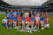 11 June 2013; The Liberty Insurance Camogie Championship was launched at Croke Park this afternoon with players from participating counties joining to mark the start of championship 2013 with President of the Camogie Association Aileen Lawlor, CEO of Liberty Insurance Pat O'Brien and Uachtarán Chumann Lúthchleas Gael Liam Ó Néill. Twenty four counties, across five grades, will commence their All-Ireland campaigns on June 22nd. Liberty Insurance is the first ever sponsor of both the GAA Hurling and Camogie All-Ireland Senior Championships in a five-year deal with the GAA. Pictured at today's launch are camogie players, back row, from left to right, Louise O'Hara, Dublin, Fionnuala Carr, Down, Jennie Simpson, Waterford, Fiona Madden, Meath, CEO of Liberty Insurance Pat O'Brien, President of the Camogie Association Aileen Lawlor, Uachtarán Chumann Lúthchleas Gael Liam Ó Néill, Rosie Crowe, Cavan, Deirdre Murphy, Clare, Bríd Boylan, Cavan, and Kate Kelly, Wexford. Front row, from left to right, Bríd Monaghan, Monaghan, Jill Horan, Tipperary, Grace Walsh, Kilkenny, Tara Wilson, Carlow, Niamh Mulcahy, Limerick, Anna Geary, Cork, Lorraine Ryan, Galway, Katie McAnenly, Arlene Watkins, Offaly, and Eileen Murphy, Westmeath. Croke Park, Dublin. Picture credit: Brian Lawless / SPORTSFILE