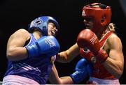 17 February 2017; Grainne Walsh of Spartacus, left, exchanges punches with Gillian Duffy of Bray during their 69KG bout at the 2017 IABA Elite Boxing Championship finals in the National Stadium, Dublin. Photo by Eóin Noonan/Sportsfile
