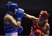 17 February 2017; Gillian Duffy of Bray, right, exchanges punches with Grainne Walsh of Spartacus during their 69KG bout at the 2017 IABA Elite Boxing Championship finals in the National Stadium, Dublin. Photo by Eóin Noonan/Sportsfile