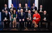 17 February 2017; GAA MacNamee Awards 2016 winners, back row left to right, Pádraig Ó Ciardha, Tuairisc.ie, winner of the Irish Language Award, Eunan Lindsay, Tyrone GAA, winner of the Best GAA Programme, Eugene Petit, Clann na nGael GAA Club, Roscommon, winner of Best GAA Website, Paul Heaney, Armagh TV, winner of Best New Digital Initiative, Dr. Richard McElligott, Kerry's Eye, winner of Best Provincial Media Award, Neil Loughman, Irish News, winner of National Media Award. Bottom row left to right, Colm Shalvey, Monaghan GAA Yearbook, winner of Best County Publication, Máire Treasa Ní Cheallaigh, winner of Best GAA related Radio Programme, Uachtarán Chumann Lúthchleas Gael Aogán Ó Fearghail, Donal Keenan, Hall of Fame recipient, Brid Griffin, Beale GAA, Kerry, winner of Best Club Publication, and John McIlwaine, winner of Best GAA Photograph, during the 2016 GAA MacNamee Awards at the Croke Park in Dublin. Photo by Cody Glenn/Sportsfile