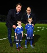17 February 2017; Leinster matchday mascot Ross Myers, age 4, from Delgany, Co. Wicklow, with Leinster's Rhys Ruddock and Richardt Strauss ahead of the Guinness PRO12 Round 15 match between Leinster and Edinburgh at the RDS Arena in Ballsbridge, Dublin. Photo by Stephen McCarthy/Sportsfile