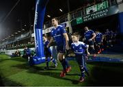 17 February 2017; Leinster captain luke McGrath with matchday mascots Jessica O'Donoghue, age 8, from Rathmines, Dublin, and Ross Myers, age 4, from Delgany, Co. Wicklow, ahead of the Guinness PRO12 Round 15 ma ahead of the Guinness PRO12 Round 15 match between Leinster and Edinburgh at the RDS Arena in Ballsbridge, Dublin. Photo by Ramsey Cardy/Sportsfile