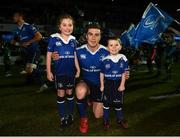 17 February 2017; Leinster captain Luke McGrath with matchday mascots Jessica O'Donoghue, age 8, from Rathmines, Dublin, and Ross Myers, age 4, from Delgany, Co. Wicklow, ahead of the Guinness PRO12 Round 15 match between Leinster and Edinburgh at the RDS Arena in Ballsbridge, Dublin. Photo by Stephen McCarthy/Sportsfile