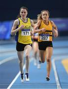 18 February 2017; Ciara Mageean, UCD, AC, Dublin, leads Michelle Finn, Leevale AC, Cork, on her way to winning the Women's 3000m Final during the Irish Life Health National Senior Indoor Championships at the Sport Ireland National Indoor Arena in Abbotstown, Dublin. Photo by Brendan Moran/Sportsfile