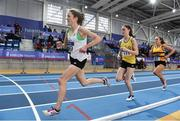 18 February 2017; Fionnuala McCormack, Sli Cualann AC, Wicklow, leads eventual winner Ciara Mageean, UCD, AC, Dublin, and Michelle Finn, Leevale AC, Cork, in the Women's 3000m Final during the Irish Life Health National Senior Indoor Championships at the Sport Ireland National Indoor Arena in Abbotstown, Dublin. Photo by Brendan Moran/Sportsfile