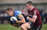 18 February 2017; Paul Mannion of University College Dublin in action against Aaron McKay of St. Mary's University Belfast during the Independent.ie HE GAA Sigerson Cup Final match between University College Dublin and St. Mary's University Belfast at the Connacht GAA Centre in Bekan, Co. Mayo. Photo by Matt Browne/Sportsfile