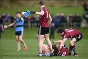 18 February 2017; Paul Mannion of University College Dublin has his shirt ripped off by Aaron McKay of St. Mary's University Belfast during the Independent.ie HE GAA Sigerson Cup Final match between University College Dublin and St. Mary's University Belfast at the Connacht GAA Centre in Bekan, Co. Mayo. Photo by Matt Browne/Sportsfile