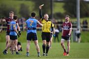 18 February 2017; Referee Conor Lane shows a yellow card to Jack McCaffrey of University College Dublin during the Independent.ie HE GAA Sigerson Cup Final match between University College Dublin and St. Mary's University Belfast at the Connacht GAA Centre in Bekan, Co. Mayo. Photo by Matt Browne/Sportsfile