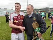 18 February 2017; Brian McGrath of Our Lady's Templemore celebrates with his father Pat McGrath after the Dr. Harty Cup Final match between Our Lady's Templemore and St. Colman's Fermoy at the Gaelic Grounds in Limerick. Photo by Diarmuid Greene/Sportsfile
