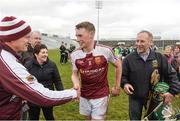 18 February 2017; Brian McGrath of Our Lady's Templemore celebrates with his father Pat McGrath, right, and Seamus Burke after the Dr. Harty Cup Final match between Our Lady's Templemore and St. Colman's Fermoy at the Gaelic Grounds in Limerick. Photo by Diarmuid Greene/Sportsfile