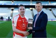 18 January 2017; Bryan Skeehan, AIB Manager South East Business Centre, presenting Nicky Kelly from Mayfield with the Man of the Match award for his outstanding performance in the AIB Junior Hurling Club Championship Final, Mayfield vs Mooncoin in Croke Park. For exclusive content and behind the scenes action from the Club Championships follow AIB GAA on Twitter and Instagram @AIB_GAA and facebook.com/AIBGAA. #TheToughest Photo by Piaras Ó Mídheach/Sportsfile