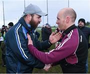 18 February 2017; Manager of University College Dublin John Divilly, left, congratulates manager of St. Mary's University Belfast Paddy Tally after the final whistle at the Independent.ie HE GAA Sigerson Cup Final match between University College Dublin and St. Mary's University Belfast at the Connacht GAA Centre in Bekan, Co. Mayo. Photo by Matt Browne/Sportsfile