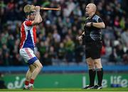 18 February 2017; Pádraic Mannion of Ahascragh - Foghenach protests to referee Gearóid McGrath after he awards a penalty to Carrickshock during the AIB GAA Hurling All-Ireland Intermediate Club Championship final match between Ahascragh - Foghenach and Carrickshock at Croke Park in Dublin. Photo by Eóin Noonan/Sportsfile
