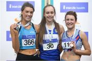 18 February 2017; Women's High Jump medallists, from left, Emily Rogers of St Peters AC, Co Louth, silver,  Sommer Lecky of Finn Valley AC, Co Donegal, gold, and Grace O'Rourke of Dundrum South Dublin AC, Co Dublin, during the Irish Life Health National Senior Indoor Championships at the Sport Ireland National Indoor Arena in Abbotstown, Dublin. Photo by Sam Barnes/Sportsfile