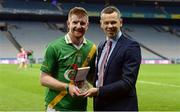 18 January 2017; Bryan Skeehan, AIB Manager South East Business Centre, presenting Richie Power from Carrickshock with the Man of the Match award for his outstanding performance in the AIB Intermediate Hurling Club Championship Final, CLG Ath Eascrach/Fothaine vs Carrickshock in Croke Park. For exclusive content and behind the scenes action from the Club Championships follow AIB GAA on Twitter and Instagram @AIB_GAA and facebook.com/AIBGAA. #TheToughest Photo by Piaras Ó Mídheach/Sportsfile