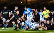 3 November 2017; Jamison Gibson-Park of Leinster dives over to score his side's first try during the Guinness PRO14 Round 8 match between Glasgow Warriors and Leinster at Scotstoun in Glasgow, Scotland. Photo by Ramsey Cardy/Sportsfile
