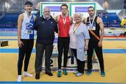 18 February 2017; Medallists in the Men's Triple Jump, from left, silver medallist Jordan Hoang, Tullamore Harriers AC, Offaly, gold medallist Antony Daffurn, St Ronan's AC, Galway and bronze medallist Niall Counihan, Clonliffe Harriers AC, Dublin with John Cronin, Event Director, and Georgina Drumm, President, Athletics Ireland, during the Irish Life Health National Senior Indoor Championships at the Sport Ireland National Indoor Arena in Abbotstown, Dublin. Photo by Brendan Moran/Sportsfile