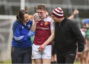 18 February 2017; Stevie Nolan of Our Lady's Templemore is assisted off the pitch by physio Claire Hassett and Tom Byrnes after picking up a facial injury during the Dr. Harty Cup Final match between Our Lady's Templemore and St. Colman's Fermoy at the Gaelic Grounds in Limerick. Photo by Diarmuid Greene/Sportsfile