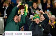 18 February 2017; Carrickshock supporters Gary Comerford, left, and Jim Rohan lift the cup on the podium after the AIB GAA Hurling All-Ireland Intermediate Club Championship final match between Ahascragh - Foghenach and Carrickshock at Croke Park in Dublin. Photo by Piaras Ó Mídheach/Sportsfile