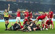 18 February 2017; Dave Kilcoyne of Munster crashes over to score a try during the Guinness PRO12 Round 15 match between Ospreys and Munster at the Liberty Stadium in Swansea, Wales. Photo by Darren Griffiths/Sportsfile