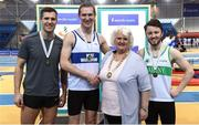 18 February 2017; Medallists in the Men's Pole Vault, from left, silver medallist Peter Glass, unattached, gold medallist Thomas Houlihan, West Waterford AC, Waterford, and bronze medallist Conor Bermingham, Raheny Shamrocks AC, Dublin, with Georgina Drumm, President, Athletics Ireland, during the Irish Life Health National Senior Indoor Championships at the Sport Ireland National Indoor Arena in Abbotstown, Dublin. Photo by Brendan Moran/Sportsfile