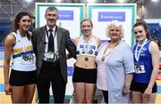 18 February 2017; Medallists in the Women's Long Jump, from left, silver medallist Ruby Millet, St Abban's AC, Co Laois, gold medallist Sarah McCarthy, Mid Sutton AC, Dublin and bronze medallist Aoibheann O'Brien, Tralee Harriers AC, Co Kerry, with George Maybury, Chairman of Finance and Risk, Athletics Ireland and Georgina Drumm, President, Athletics Ireland, during the Irish Life Health National Senior Indoor Championships at the Sport Ireland National Indoor Arena in Abbotstown, Dublin. Photo by Brendan Moran/Sportsfile