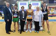 18 February 2017; Medallists in the Men's 5000m Walk Final, from left, silver medallist Cian McManamon, Westport AC, Mayo, gold medallist Alex Wright, Leevale AC, Cork and bronze medallist Brendan Boyce, Letterkenny AC, Donegal, with David Conway, Director, National Sports Campus, Eithne Conway, Deputy Mayor of Fingal County Council, and Georgina Drumm, President, Athletics Ireland, during the Irish Life Health National Senior Indoor Championships at the Sport Ireland National Indoor Arena in Abbotstown, Dublin. Photo by Brendan Moran/Sportsfile