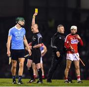 18 February 2017; Chris Crummey of Dublin receives a yellow card from referee Sean Cleere during the Allianz Hurling League Division 1A Round 2 match between Cork and Dublin at Páirc Uí Rinn in Cork. Photo by Stephen McCarthy/Sportsfile