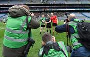 19 January 2017; Referee Jerome Henry with team captains Thomas Bloomer of Rock St Patrick's, left, and Colin McGillycuddy of Glenbeigh-Glencar before the AIB GAA Football All-Ireland Junior club championship final match between Rock St. Patrick's and Glenbeigh-Glencar at Croke Park in Dublin. Photo by Piaras Ó Mídheach/Sportsfile