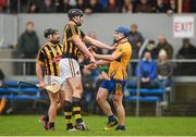 19 February 2017; Podge Collins of Clare tussles off the ball with Walter Walsh, centre, and Richie Hogan of Kilkenny during the Allianz Hurling League Division 1A Round 2 match between Clare and Kilkenny at Cusack Park in Ennis. Photo by Diarmuid Greene/Sportsfile
