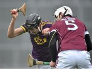 19 January 2017; Jack O'Connor of Wexford in action against Gearoid McInerney of Galway during the Allianz Hurling League Division 1B Round 2 match between Galway and Wexford at Pearse Stadium in Galway. Photo by David Maher/Sportsfile