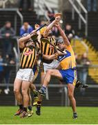 19 February 2017; Brendan Bugler, left, and Oisin O'Brien of Clare in action against Richie Hogan, right, and Richie Leahy of Kilkenny during the Allianz Hurling League Division 1A Round 2 match between Clare and Kilkenny at Cusack Park in Ennis. Photo by Diarmuid Greene/Sportsfile