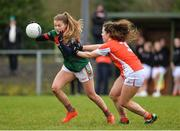 19 January 2017; Sarah Rowe of Mayo in action against Clodagh McCambridge of Armagh during the Lidl Ladies Football National League round 3 match between Armagh and Mayo at Clonmore in Armagh. Photo by Oliver McVeigh/Sportsfile