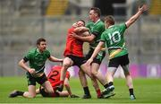 19 January 2017; Stephen O'Sullivan of Glenbeigh-Glencar in action against Rock St. Patrick's players, from left, Cathal McWilliams, Diarmaid Carroll and Thomas Bloomer during the AIB GAA Football All-Ireland Junior club championship final match between Rock St. Patrick's and Glenbeigh-Glencar at Croke Park in Dublin. Photo by Piaras Ó Mídheach/Sportsfile