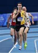 19 February 2017; Eóin Everard of Kilkenny City Harriers, Co Kilkenny, on his way to winning the Men's 3000m Final during the Irish Life Health National Senior Indoor Championships at the Sport Ireland National Indoor Arena in Abbotstown, Dublin. Photo by Sam Barnes/Sportsfile