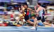 19 February 2017; Leon Reid of Menapian's AC, Co Wexford, centre, competing in their Men's 60m Semi-Final during the Irish Life Health National Senior Indoor Championships at the Sport Ireland National Indoor Arena in Abbotstown, Dublin. Photo by Sam Barnes/Sportsfile