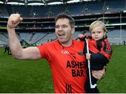 19 January 2017; Fergal Griffin of Glenbeigh-Glencar celebrates with his son Ross, 2 years old, after the AIB GAA Football All-Ireland Junior club championship final match between Rock St. Patrick's and Glenbeigh-Glencar and at Croke Park in Dublin. Photo by Eóin Noonan/Sportsfile