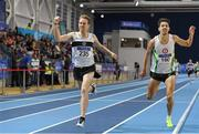 19 February 2017; John Travers, left, Donore Harriers AC, Dublin, celebrates winning from Paul Robinson, St Coca's AC, Kildare, on the line in the Men's 1500m Final during the Irish Life Health National Senior Indoor Championships at the Sport Ireland National Indoor Arena in Abbotstown, Dublin. Photo by Brendan Moran/Sportsfile