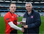 19 January 2017; Stephen Stack, AIB Branch manager, Listowel, presenting Darren O'Sullivan from Glenbeigh-Glencar with the Man of the Match award for his outstanding performance in the AIB Junior Football Club Championship Final, Glenbeigh-Glencar vs Rock St Patrick's in Croke Park. For exclusive content and behind the scenes action from the Club Championships follow AIB GAA on Twitter and Instagram @AIB_GAA and facebook.com/AIBGAA #TheToughest Photo by Eóin Noonan/Sportsfile
