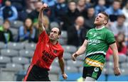 19 January 2017; Bernard Murphy of Glenbeigh-Glencar celebrates scoring a late point as Thomas Bloomer of Rock St Patrick's looks on during the AIB GAA Football All-Ireland Junior club championship final match between Rock St. Patrick's and Glenbeigh-Glencar at Croke Park in Dublin. Photo by Piaras Ó Mídheach/Sportsfile