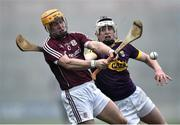 19 January 2017; Davy Glennon of Galway in action against Liam Ryan of Wexford during the Allianz Hurling League Division 1B Round 2 match between Galway and Wexford at Pearse Stadium in Galway. Photo by David Maher/Sportsfile