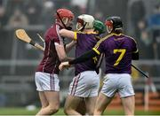 19 January 2017; Joe Canning of Galway and James Breen of Wexford confront each other during the Allianz Hurling League Division 1B Round 2 match between Galway and Wexford at Pearse Stadium in Galway. Photo by David Maher/Sportsfile