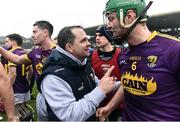 19 February 2017; Manager of Wexford Davy Fitzgerald celebrates with Matthew O'Hanlon at the end of the Allianz Hurling League Division 1B Round 2 match between Galway and Wexford at Pearse Stadium in Galway. Photo by David Maher/Sportsfile