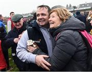 19 February 2017; Manager of Wexford Davy Fitzgerald celebrates with supporters at the end of the Allianz Hurling League Division 1B Round 2 match between Galway and Wexford at Pearse Stadium in Galway. Photo by David Maher/Sportsfile