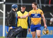 19 January 2017; Clare joint manager Gerry O'Connor with goalkeeper Donal Tuohy, left, and captain Cian Dillon after the Allianz Hurling League Division 1A Round 2 match between Clare and Kilkenny at Cusack Park in Ennis. Photo by Diarmuid Greene/Sportsfile