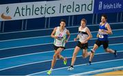19 February 2017; Atheltes, from left, Paul Robinson of St Coca's AC, Co  Kildare, John Travers of Donore Harriers, Co Dublin, and Mark Hoy of Finn Valley AC, Co Donegal, competing in the Men's 1500m Final during the Irish Life Health National Senior Indoor Championships at the Sport Ireland National Indoor Arena in Abbotstown, Dublin. Photo by Sam Barnes/Sportsfile