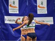 19 February 2017; Ciara Neville, Emerald AC, Limerick, right, is congratulated by Molly Scott of St Laurence O'Toole AC, Co Carlow, after winning the Women's 60m Final during the Irish Life Health National Senior Indoor Championships at the Sport Ireland National Indoor Arena in Abbotstown, Dublin. Photo by Sam Barnes/Sportsfile